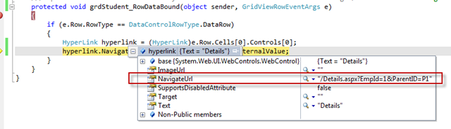 How to pass external values with GridView HyperLinkField