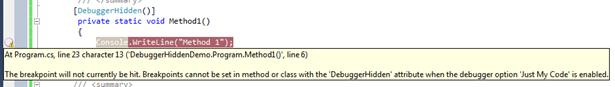 Hide Methods from debugger Using DebuggerHidden attribute