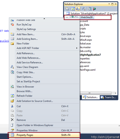 To use asp net property pages to create or host a silverlight