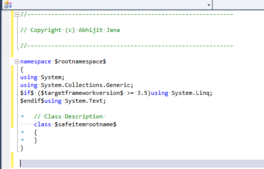 Add document header for files automatically in Visual Studio ...