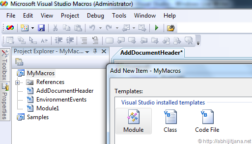Add document header for files automatically in Visual Studio