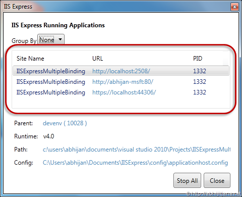 Multiple URL Binding with IIS Express – Abhijit's Blog