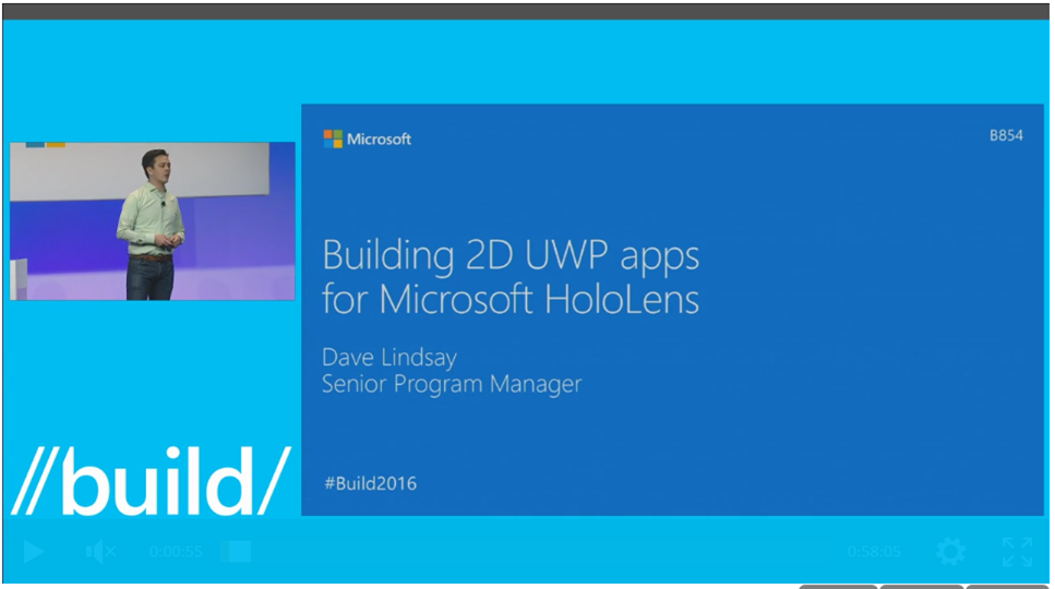 Build Event Video on 2D UWP Apps for Microsoft HoloLens