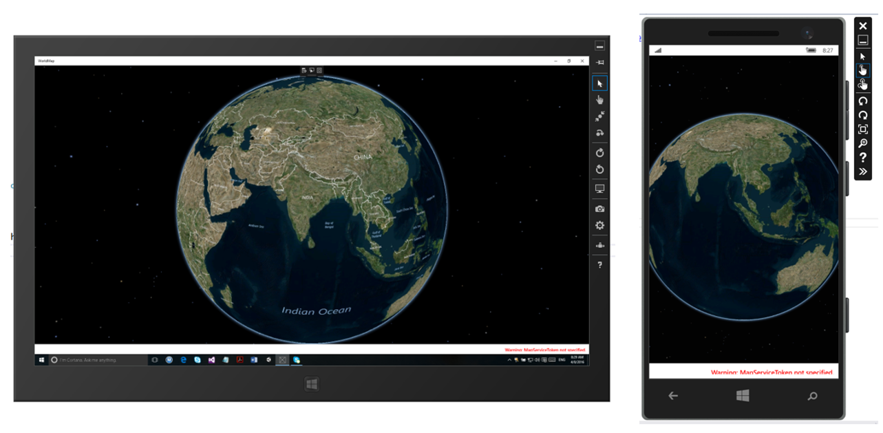 UWP World Map running on Windows 10 Device Simulator and Windows Phone 10