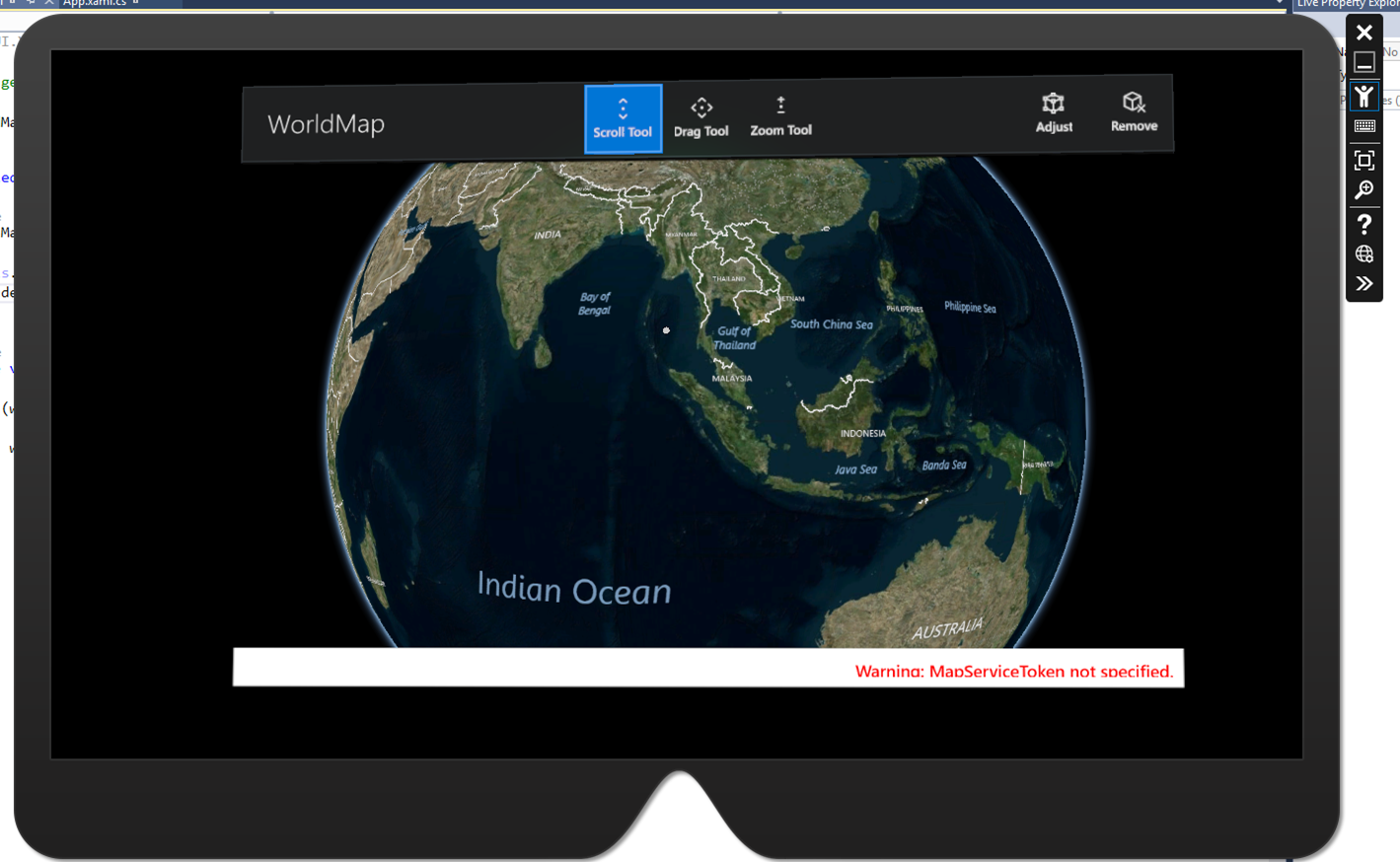 UWP World Map running in HoloLens