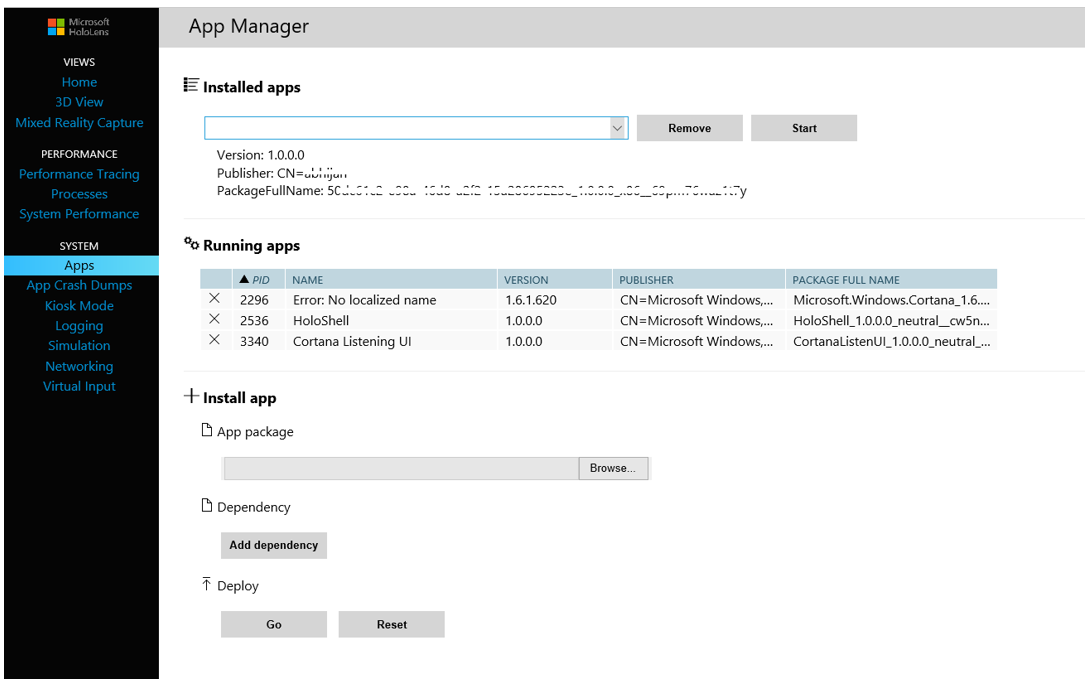 Device Portal - App Manager