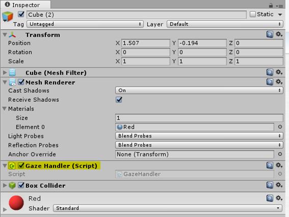 Adding Gaze Handler Script