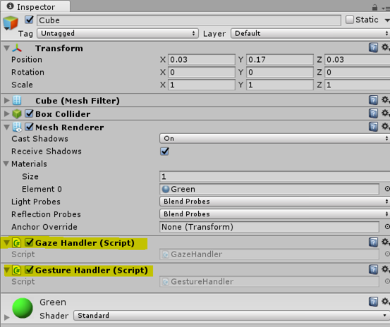 Adding Gesture Handler To the Cube Objects