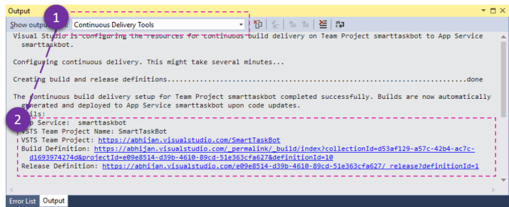 Continuous Delivery Output Windows