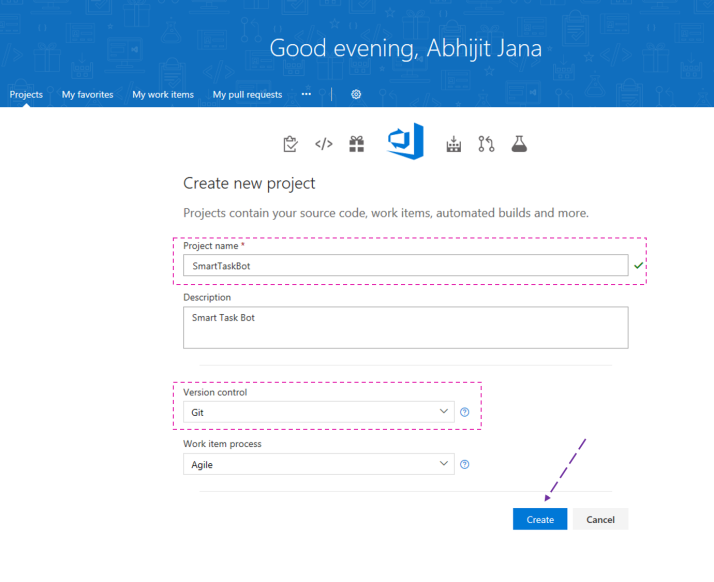 Create a Team Project in VSTS